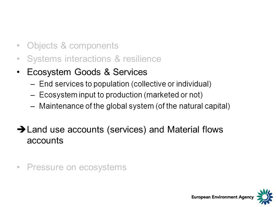 Objects & components Systems interactions & resilience Ecosystem Goods & Services –End services to population (collective or individual) –Ecosystem input to production (marketed or not) –Maintenance of the global system (of the natural capital) Land use accounts (services) and Material flows accounts Pressure on ecosystems