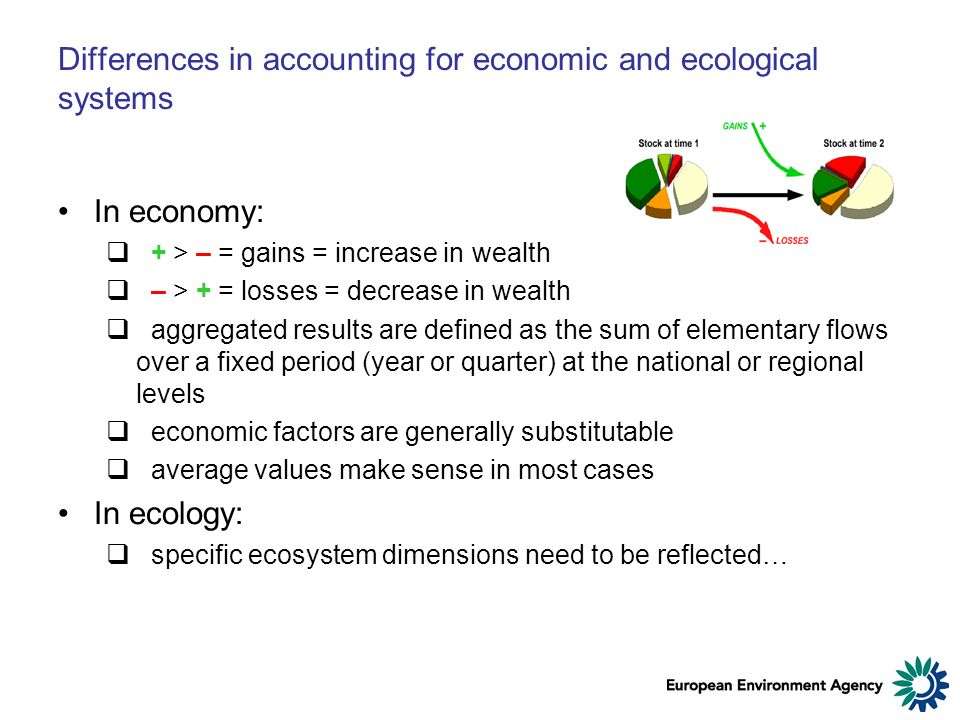 Differences in accounting for economic and ecological systems In economy: + > – = gains = increase in wealth – > + = losses = decrease in wealth aggregated results are defined as the sum of elementary flows over a fixed period (year or quarter) at the national or regional levels economic factors are generally substitutable average values make sense in most cases In ecology: specific ecosystem dimensions need to be reflected…