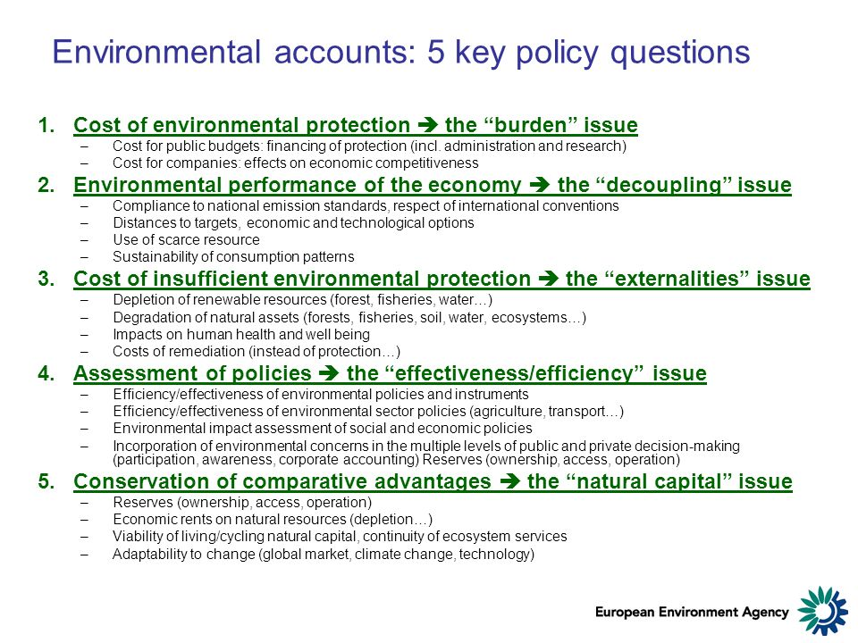 Environmental accounts: 5 key policy questions 1.Cost of environmental protection the burden issue –Cost for public budgets: financing of protection (incl.