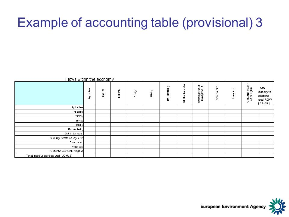 Example of accounting table (provisional) 3