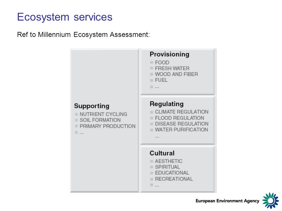 Ecosystem services Ref to Millennium Ecosystem Assessment: