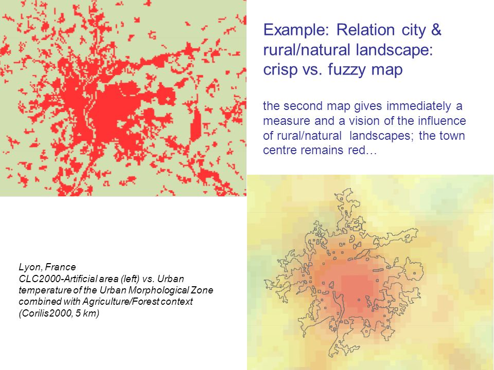Example: Relation city & rural/natural landscape: crisp vs.