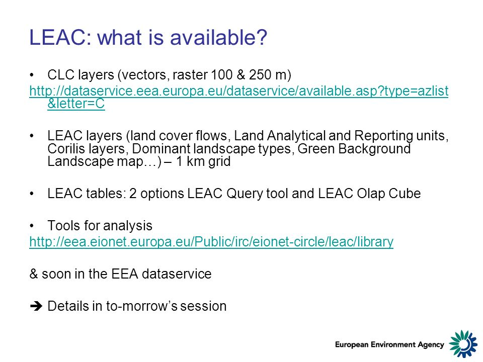 LEAC: what is available.