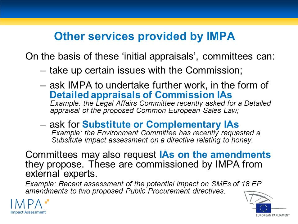 Other services provided by IMPA On the basis of these initial appraisals, committees can: –take up certain issues with the Commission; –ask IMPA to un