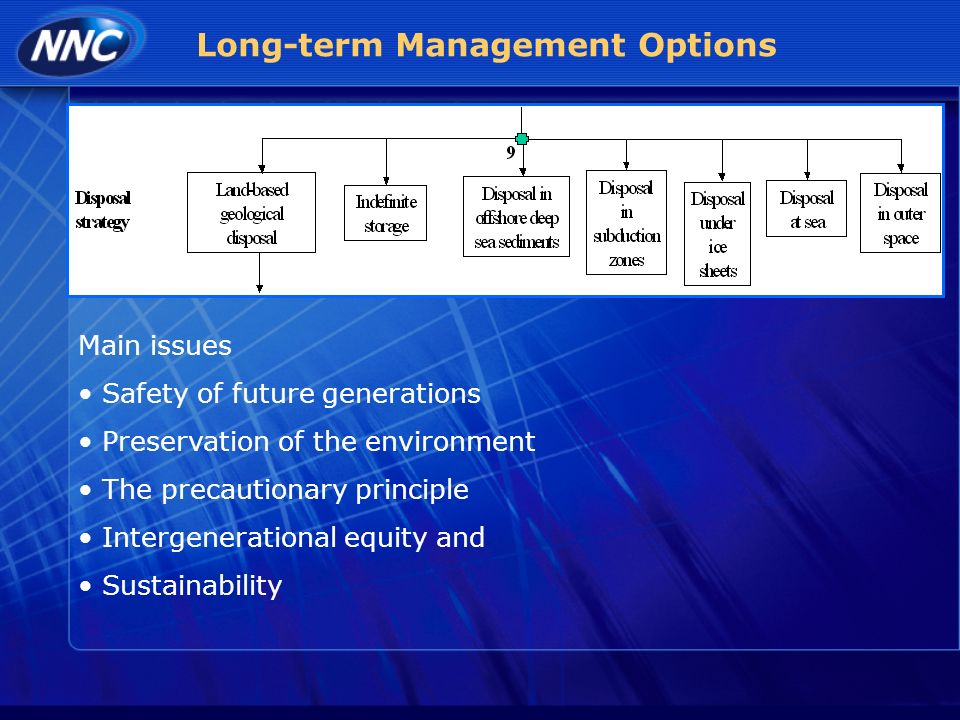 Long-term Management Options Main issues Safety of future generations Preservation of the environment The precautionary principle Intergenerational equity and Sustainability