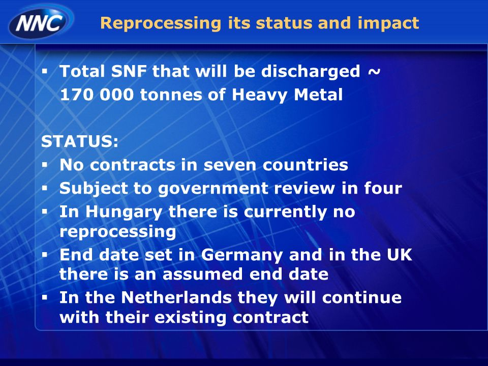 Reprocessing its status and impact Total SNF that will be discharged ~ 170 000 tonnes of Heavy Metal STATUS: No contracts in seven countries Subject to government review in four In Hungary there is currently no reprocessing End date set in Germany and in the UK there is an assumed end date In the Netherlands they will continue with their existing contract