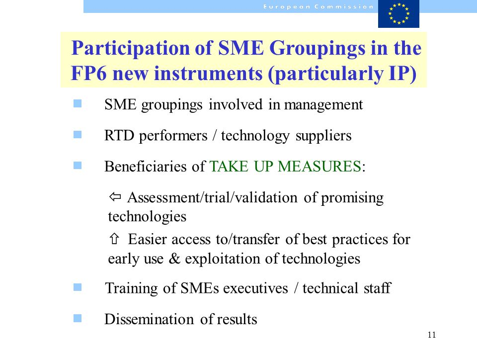 11 Dissemination of results Participation of SME Groupings in the FP6 new instruments (particularly IP) RTD performers / technology suppliers Beneficiaries of TAKE UP MEASURES: Training of SMEs executives / technical staff ï Assessment/trial/validation of promising technologies ñ Easier access to/transfer of best practices for early use & exploitation of technologies SME groupings involved in management
