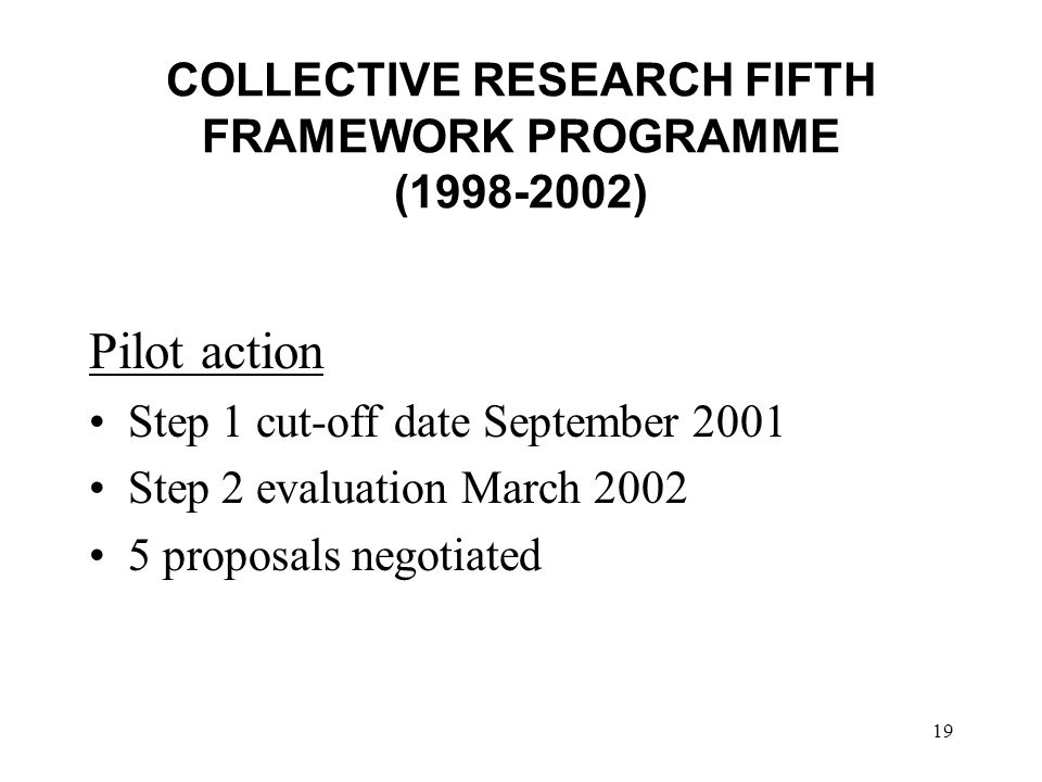 19 Pilot action Step 1 cut-off date September 2001 Step 2 evaluation March 2002 5 proposals negotiated COLLECTIVE RESEARCH FIFTH FRAMEWORK PROGRAMME (