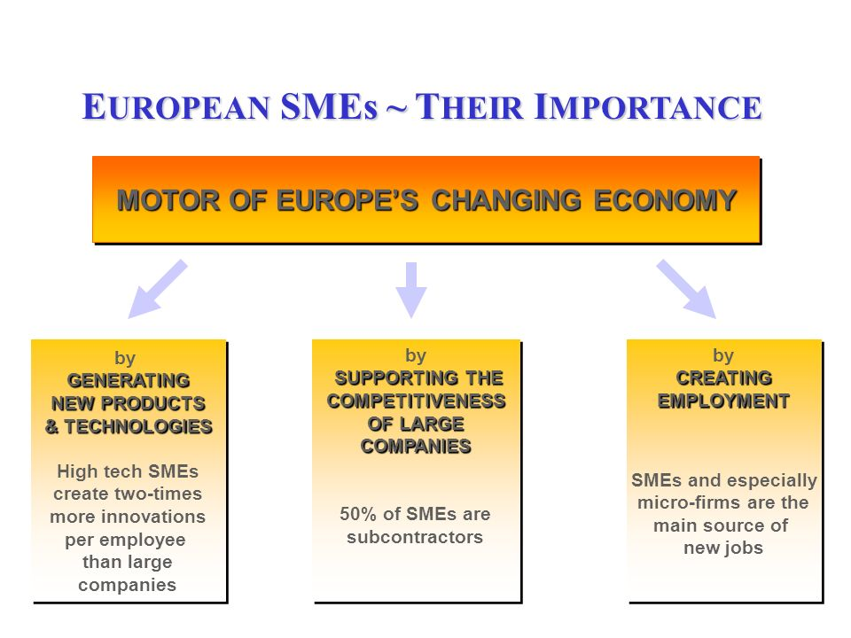 2 MOTOR OF EUROPES CHANGING ECONOMY GENERATING by GENERATING NEW PRODUCTS & TECHNOLOGIES High tech SMEs create two-times more innovations per employee than large companies GENERATING by GENERATING NEW PRODUCTS & TECHNOLOGIES High tech SMEs create two-times more innovations per employee than large companies SUPPORTING THE by SUPPORTING THECOMPETITIVENESS OF LARGE COMPANIES 50% of SMEs are subcontractors SUPPORTING THE by SUPPORTING THECOMPETITIVENESS OF LARGE COMPANIES 50% of SMEs are subcontractors CREATING by CREATINGEMPLOYMENT SMEs and especially micro-firms are the main source of new jobs CREATING by CREATINGEMPLOYMENT SMEs and especially micro-firms are the main source of new jobs E UROPEAN SMEs ~ T HEIR I MPORTANCE