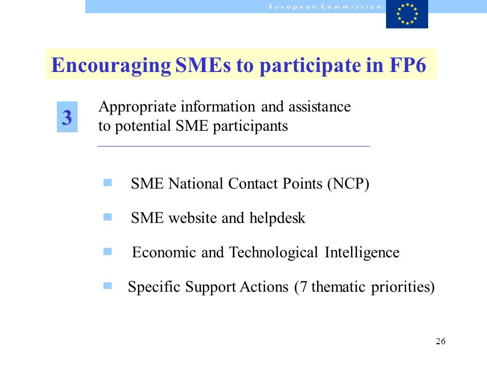 26 Appropriate information and assistance to potential SME participants SME website and helpdesk SME National Contact Points (NCP) Economic and Techno