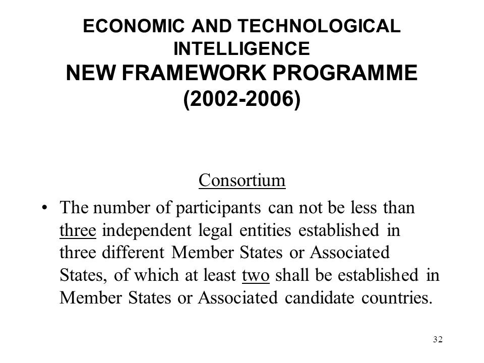 32 ECONOMIC AND TECHNOLOGICAL INTELLIGENCE NEW FRAMEWORK PROGRAMME ( ) Consortium The number of participants can not be less than three independent legal entities established in three different Member States or Associated States, of which at least two shall be established in Member States or Associated candidate countries.