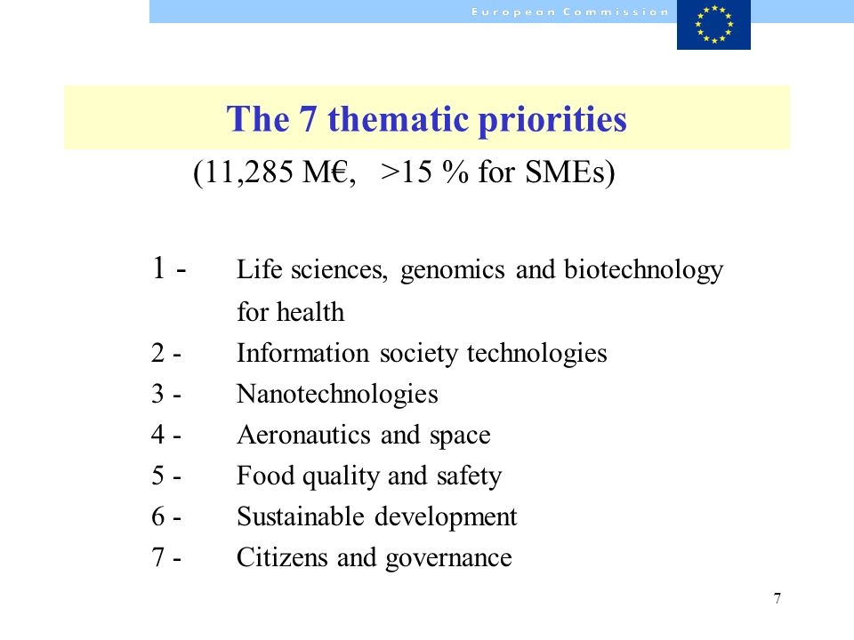 7 The 7 thematic priorities (11,285 M, >15 % for SMEs) 1 - Life sciences, genomics and biotechnology for health 2 -Information society technologies 3 -Nanotechnologies 4 -Aeronautics and space 5 -Food quality and safety 6 -Sustainable development 7 -Citizens and governance