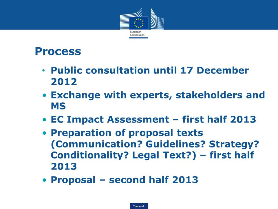 Transport Process Public consultation until 17 December 2012 Exchange with experts, stakeholders and MS EC Impact Assessment – first half 2013 Prepara