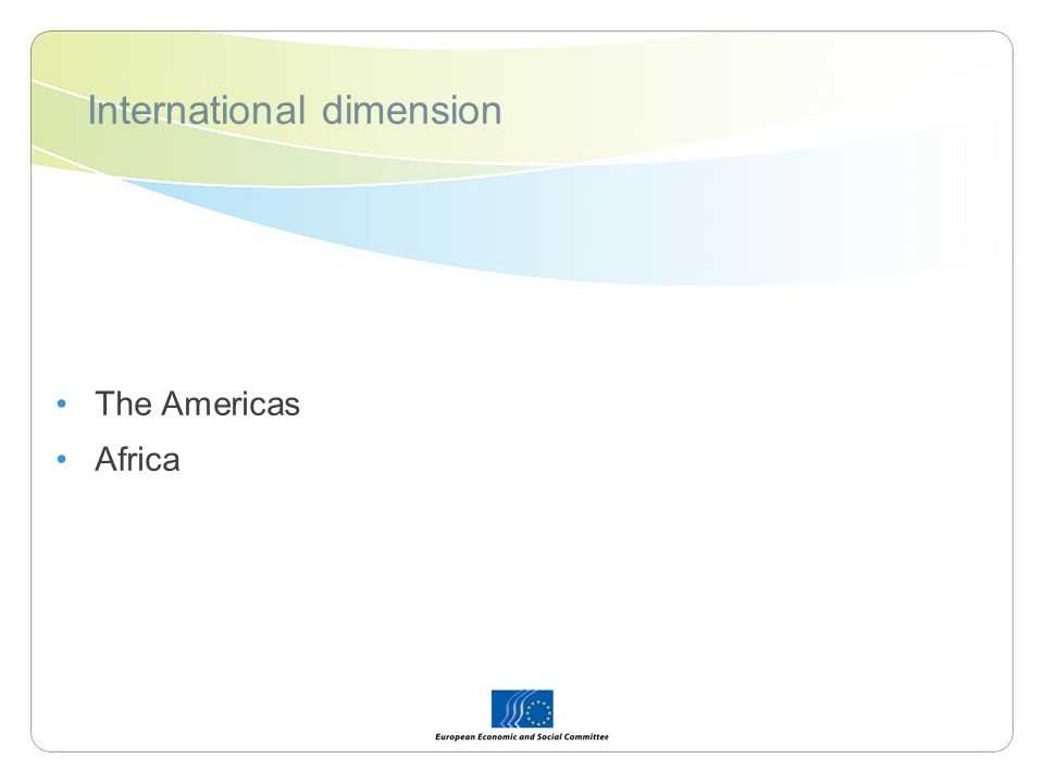 International dimension The Americas Africa