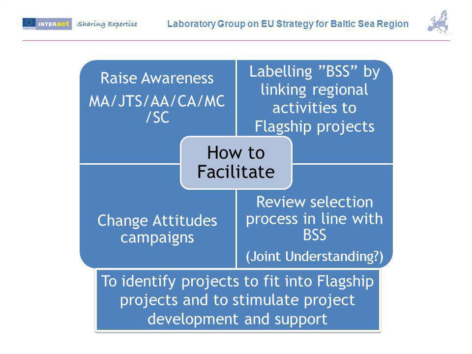Raise Awareness MA/JTS/AA/CA/MC /SC Labelling BSS by linking regional activities to Flagship projects Change Attitudes campaigns Review selection process in line with BSS (Joint Understanding ) How to Facilitate To identify projects to fit into Flagship projects and to stimulate project development and support Laboratory Group on EU Strategy for Baltic Sea Region