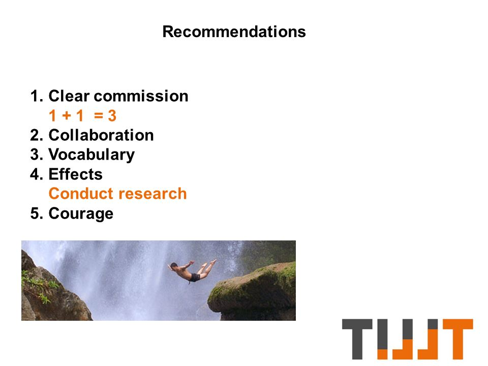 Recommendations 1.Clear commission 1 + 1 = 3 2.Collaboration 3.Vocabulary 4.Effects Conduct research 5.Courage
