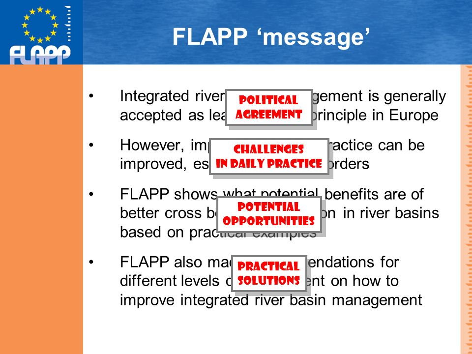 FLAPP message Integrated river basin management is generally accepted as leading policy principle in Europe However, implementation in practice can be improved, especially across borders FLAPP shows what potential benefits are of better cross border cooperation in river basins based on practical examples FLAPP also made recommendations for different levels of government on how to improve integrated river basin management CHALLENGES IN DAILY PRACTICE CHALLENGES IN DAILY PRACTICE POTENTIAL OPPORTUNITIES POTENTIAL OPPORTUNITIES POLITICAL AGREEMENT POLITICAL AGREEMENT PRACTICAL SOLUTIONS PRACTICAL SOLUTIONS