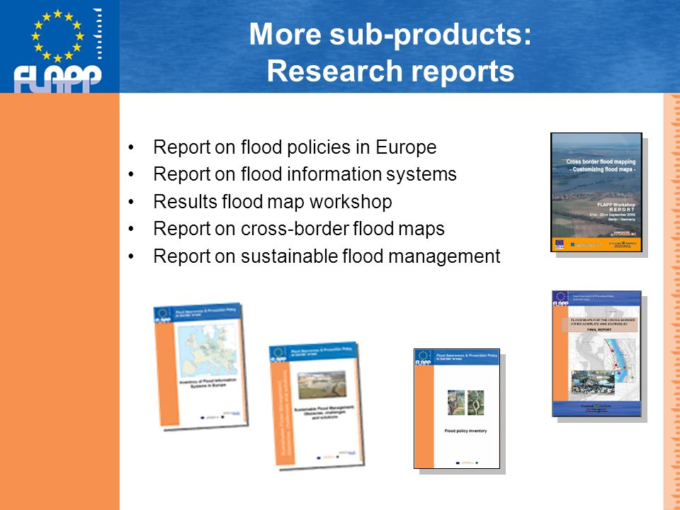 More sub-products: Research reports Report on flood policies in Europe Report on flood information systems Results flood map workshop Report on cross-border flood maps Report on sustainable flood management