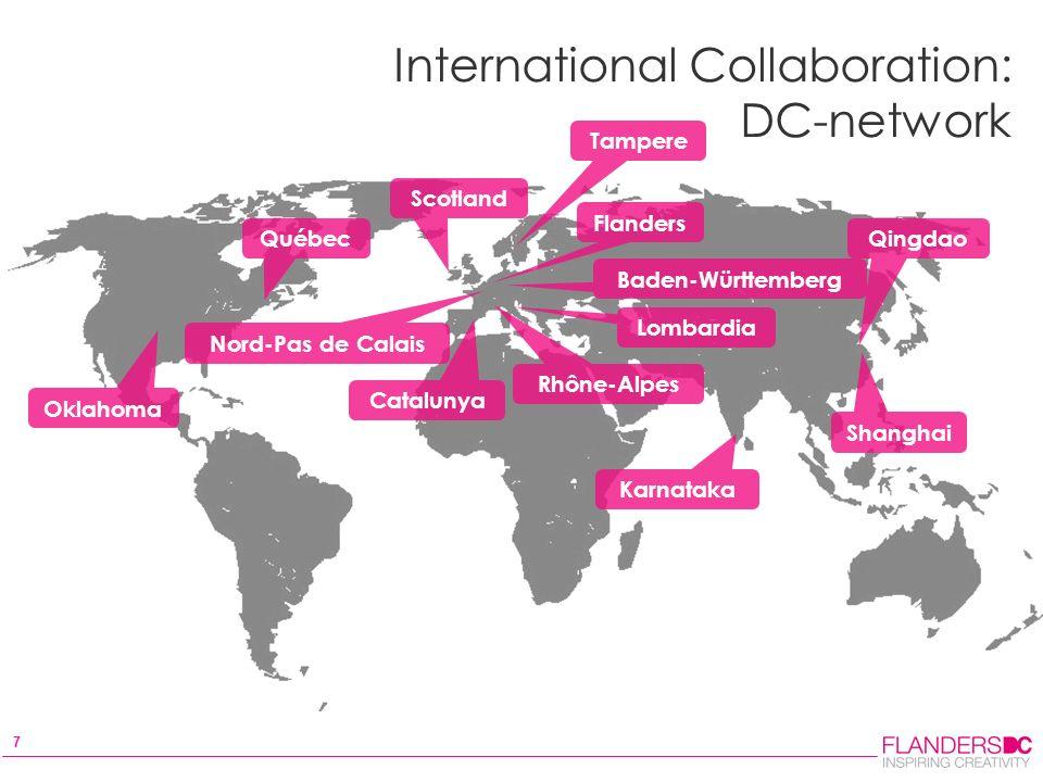 7 International Collaboration: DC-network Oklahoma Québec Scotland Flanders Shanghai Qingdao Catalunya Rhône-Alpes Lombardia Baden-Württemberg Nord-Pas de Calais Karnataka Tampere