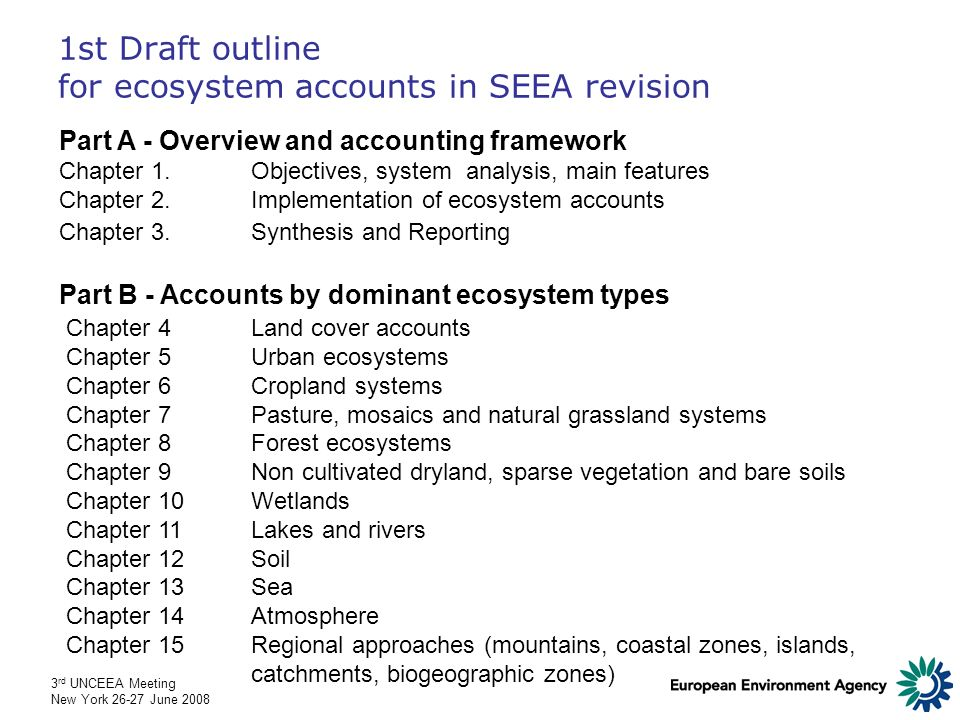 3 rd UNCEEA Meeting New York 26-27 June 2008 1st Draft outline for ecosystem accounts in SEEA revision Part A - Overview and accounting framework Chapter 1.