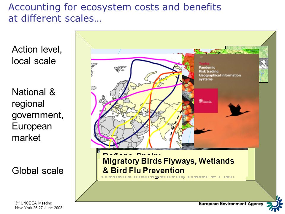 3 rd UNCEEA Meeting New York 26-27 June 2008 1990 LEAC/ Landscape Ecological Potential 1990-2000, 1km² grid (Source: Ecosystem Accounting for Mediterranean Wetlands, an EEA feasibility study for TEEB) Change 1990-2000 … & accounts for connecting different scales Natural Park of Camargue (France)