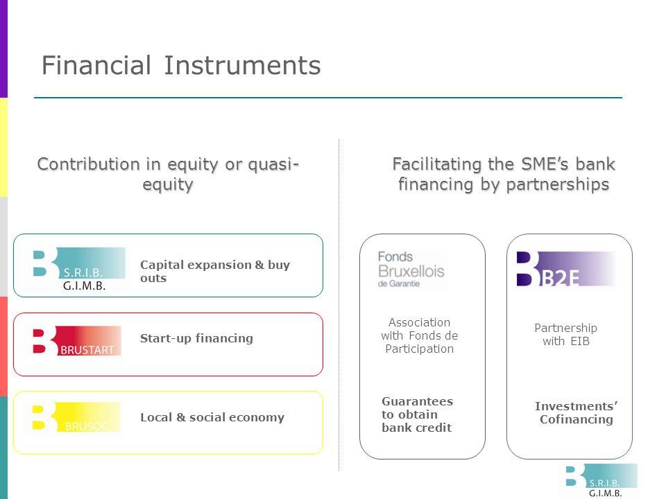 Financial Instruments Contribution in equity or quasi- equity Start-up financing Local & social economy Association with Fonds de Participation Investments Cofinancing Capital expansion & buy outs Guarantees to obtain bank credit Partnership with EIB Facilitating the SMEs bank financing by partnerships