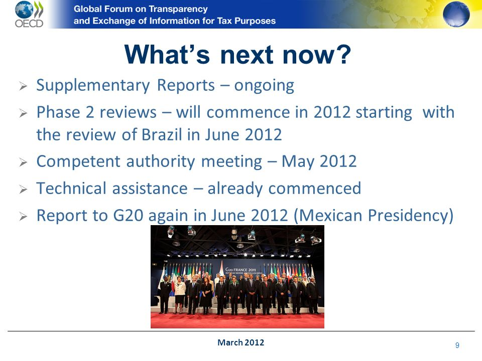 10 Global Forum G20 Bribery FATFOECD EUFATCA March 2012 And Later?