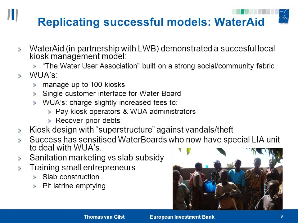 9 Replicating successful models: WaterAid WaterAid (in partnership with LWB) demonstrated a succesful local kiosk management model: The Water User Association built on a strong social/community fabric WUAs: manage up to 100 kiosks Single customer interface for Water Board WUAs: charge slightly increased fees to: Pay kiosk operators & WUA administrators Recover prior debts Kiosk design with superstructure against vandals/theft Success has sensitised WaterBoards who now have special LIA unit to deal with WUAs.
