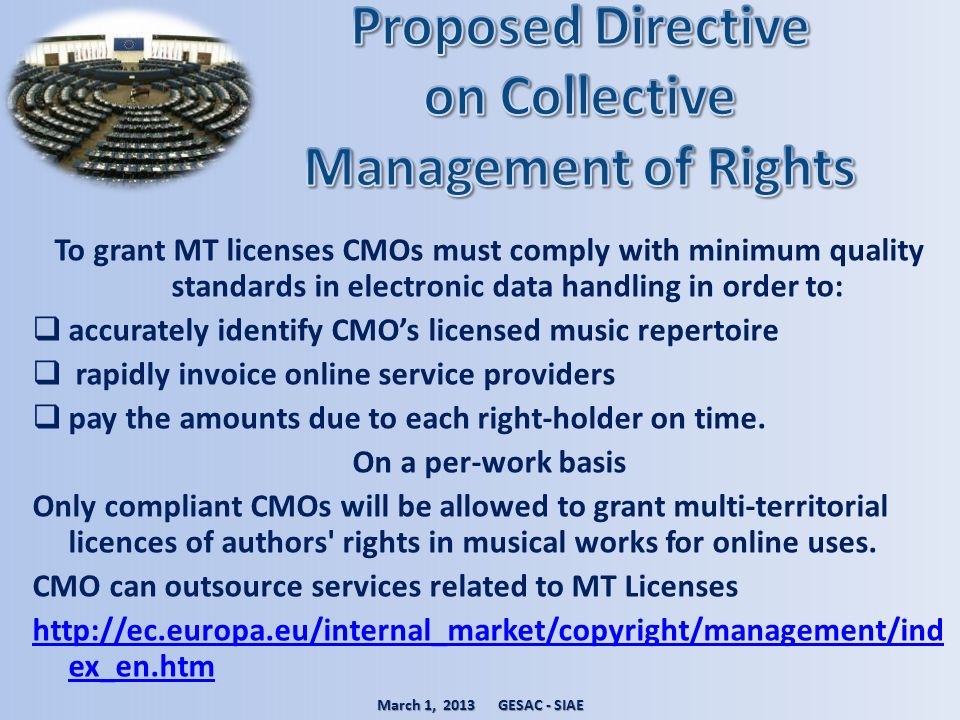 To grant MT licenses CMOs must comply with minimum quality standards in electronic data handling in order to: accurately identify CMOs licensed music
