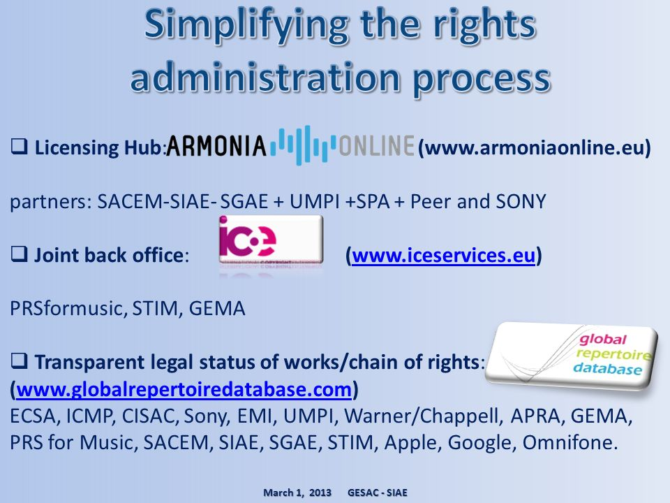 Licensing Hub: (www.armoniaonline.eu) partners: SACEM-SIAE- SGAE + UMPI +SPA + Peer and SONY Joint back office: (www.iceservices.eu)www.iceservices.eu