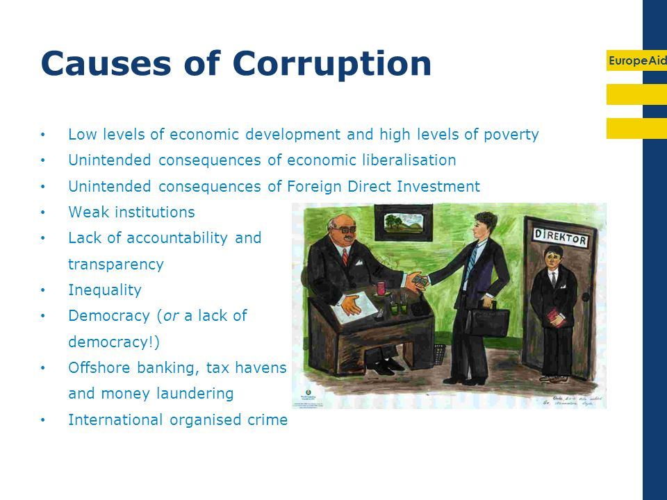 EuropeAid Causes of Corruption Low levels of economic development and high levels of poverty Unintended consequences of economic liberalisation Uninte