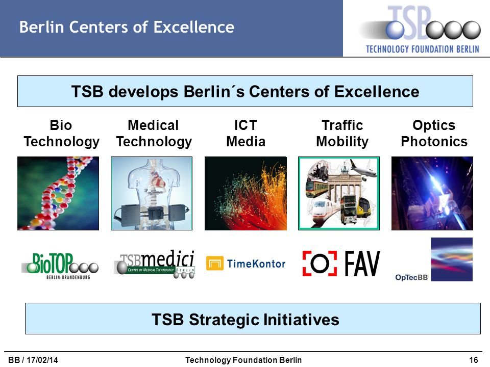 16BB / 17/02/14Technology Foundation Berlin Berlin Centers of Excellence TSB develops Berlin´s Centers of Excellence Bio Technology Optics Photonics T