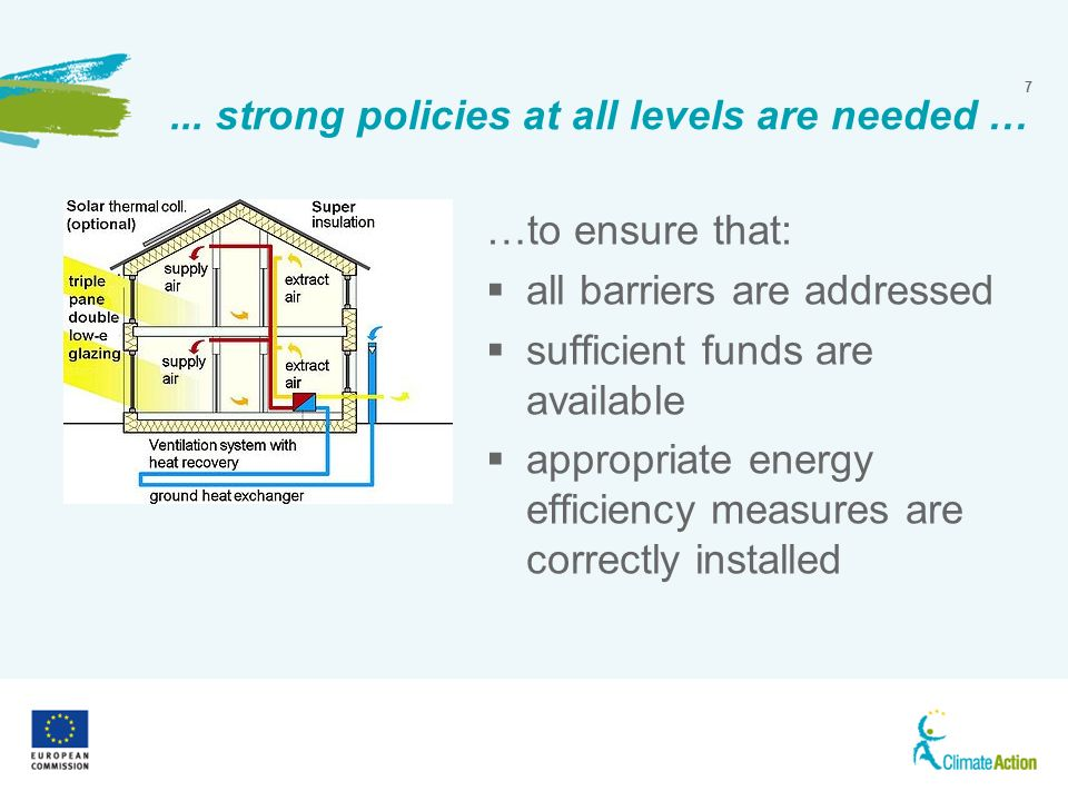 7... strong policies at all levels are needed … …to ensure that: all barriers are addressed sufficient funds are available appropriate energy efficien