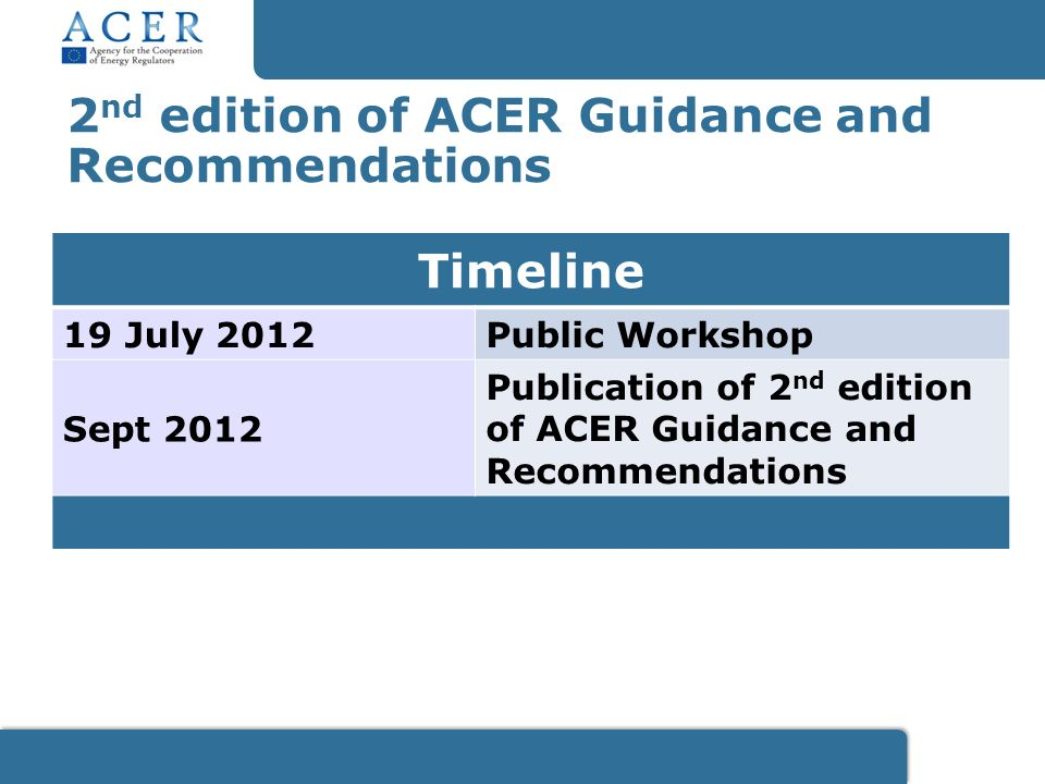 2 nd edition of ACER Guidance and Recommendations Timeline 19 July 2012Public Workshop Sept 2012 Publication of 2 nd edition of ACER Guidance and Recommendations