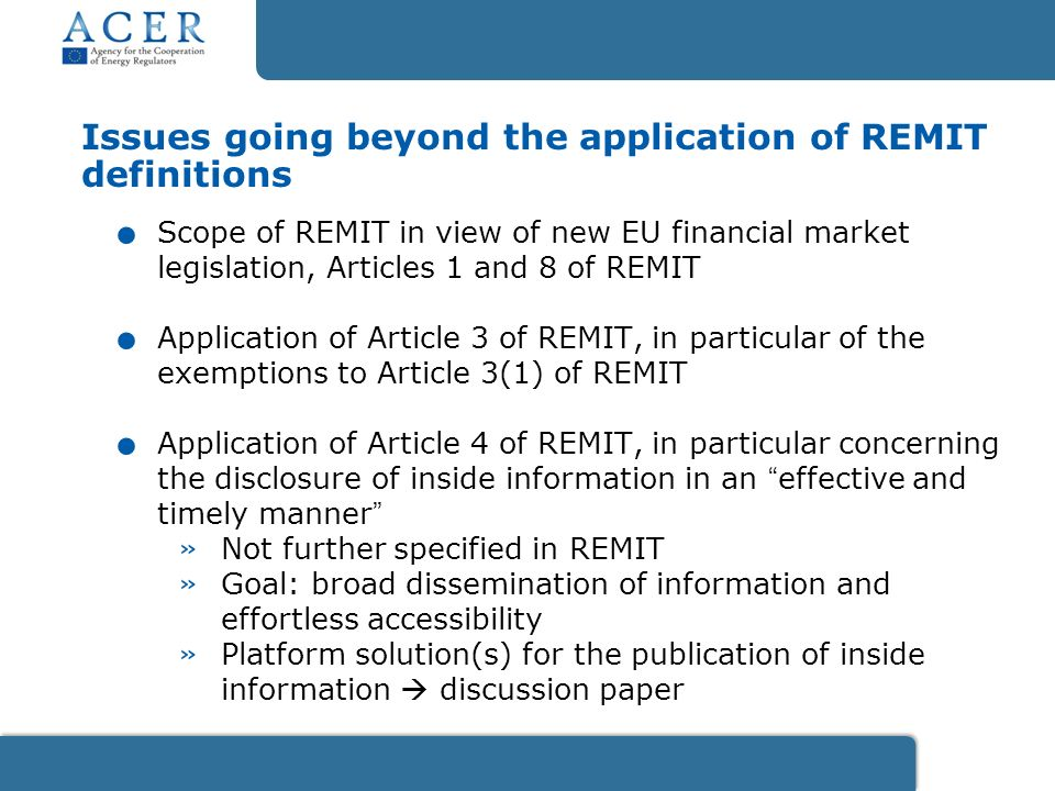 Issues going beyond the application of REMIT definitions.