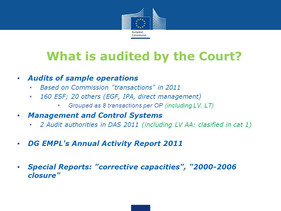 What is audited by the Court? Audits of sample operations Based on Commission