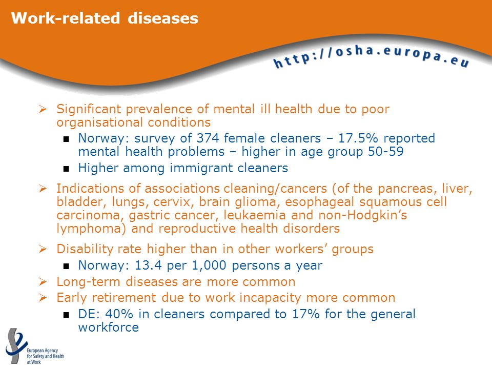 Work-related diseases Significant prevalence of mental ill health due to poor organisational conditions Norway: survey of 374 female cleaners – 17.5%