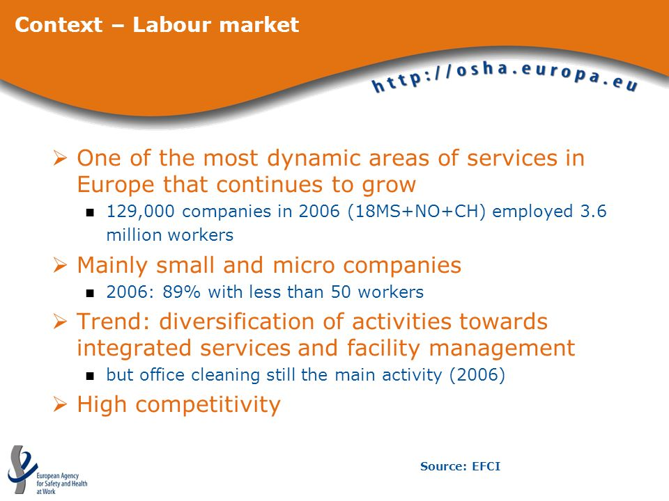 Context – Labour market One of the most dynamic areas of services in Europe that continues to grow 129,000 companies in 2006 (18MS+NO+CH) employed 3.6