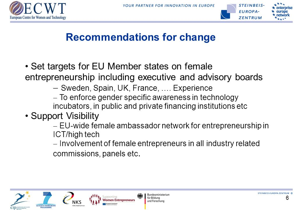 6 Recommendations for change Set targets for EU Member states on female entrepreneurship including executive and advisory boards Sweden, Spain, UK, Fr