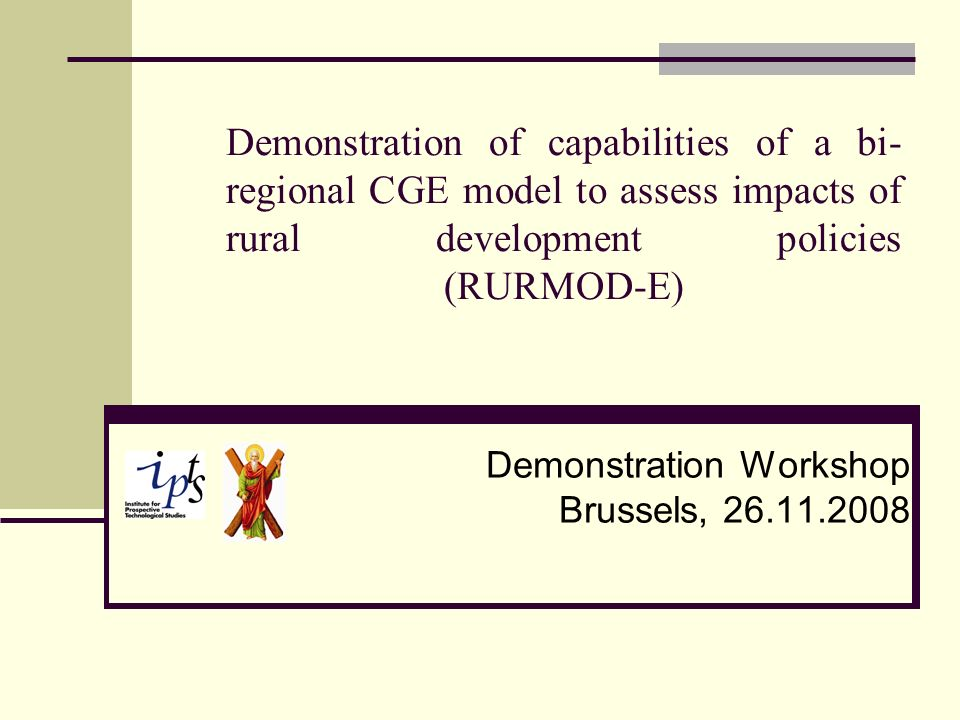 Demonstration of capabilities of a bi- regional CGE model to assess impacts of rural development policies (RURMOD-E) Demonstration Workshop Brussels, 26.11.2008
