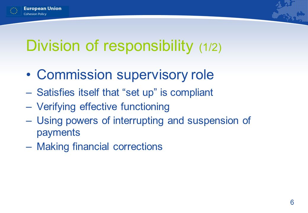 6 Division of responsibility (1/2) Commission supervisory role –Satisfies itself that set up is compliant –Verifying effective functioning –Using powe