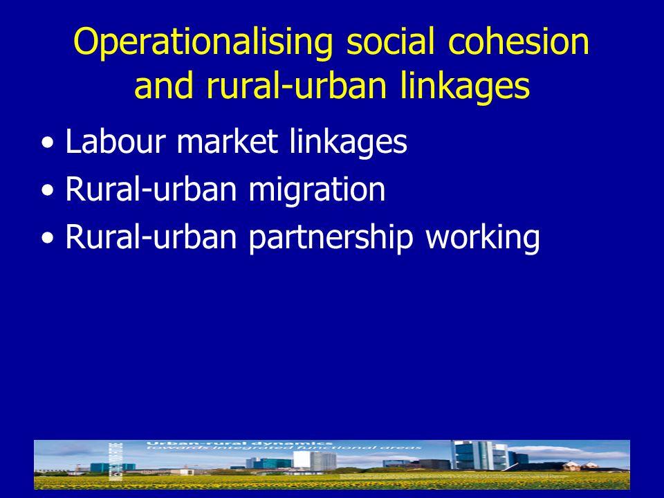 Operationalising social cohesion and rural-urban linkages Labour market linkages Rural-urban migration Rural-urban partnership working