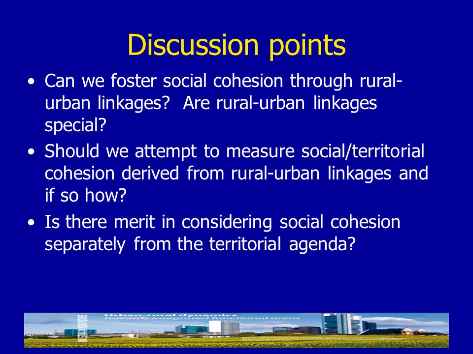 Discussion points Can we foster social cohesion through rural- urban linkages? Are rural-urban linkages special? Should we attempt to measure social/t