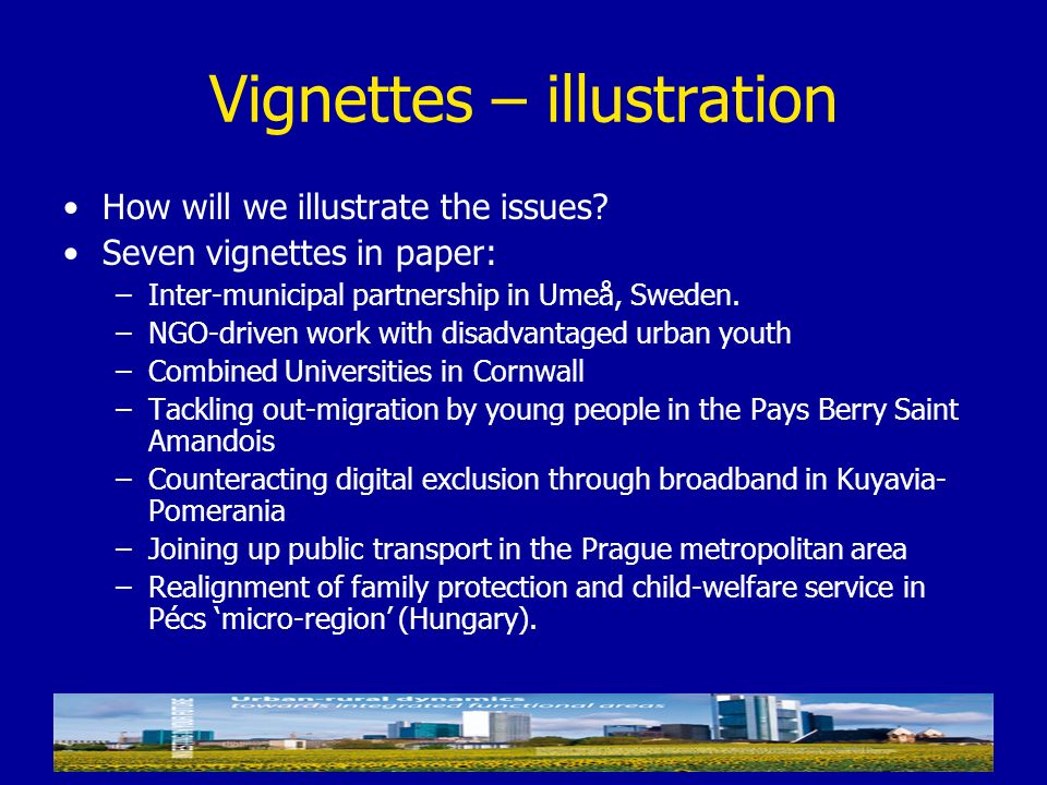 Vignettes – illustration How will we illustrate the issues? Seven vignettes in paper: –Inter-municipal partnership in Umeå, Sweden. –NGO-driven work w