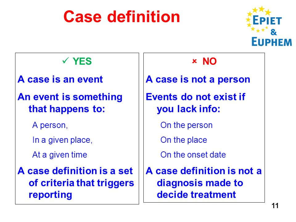 11 Case definition & YES A case is an event An event is something that happens to: A person, In a given place, At a given time A case definition is a