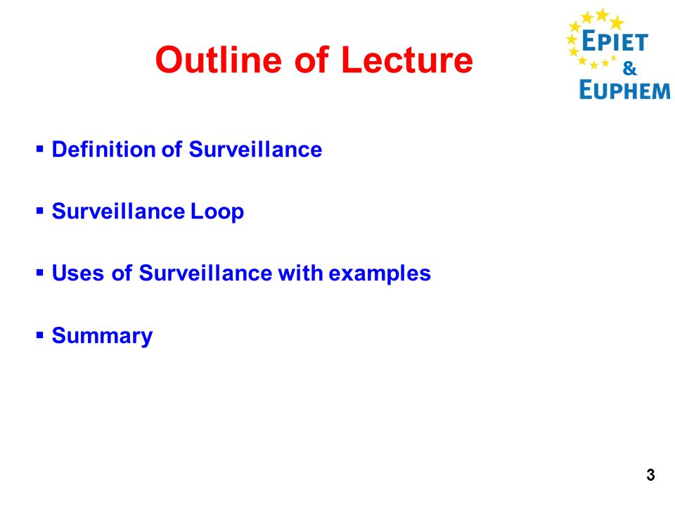 & 3 Outline of Lecture Definition of Surveillance Surveillance Loop Uses of Surveillance with examples Summary