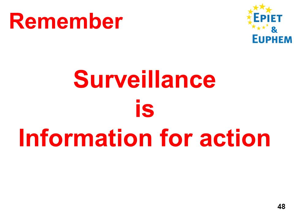 & 48 Surveillance is Information for action Remember