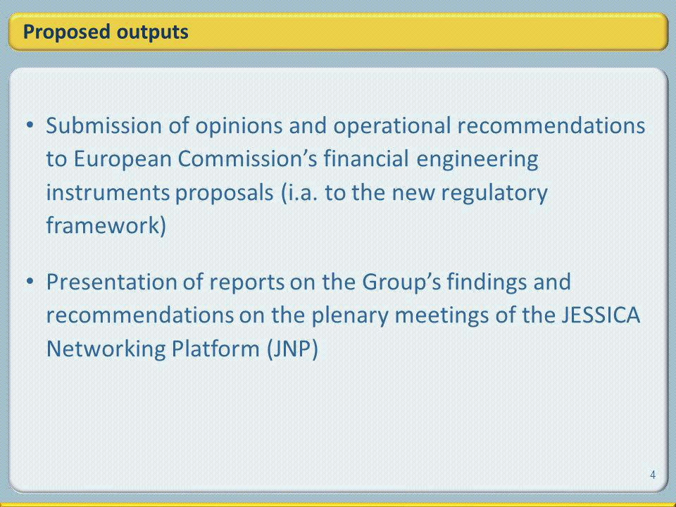 Proposed outputs Submission of opinions and operational recommendations to European Commissions financial engineering instruments proposals (i.a.