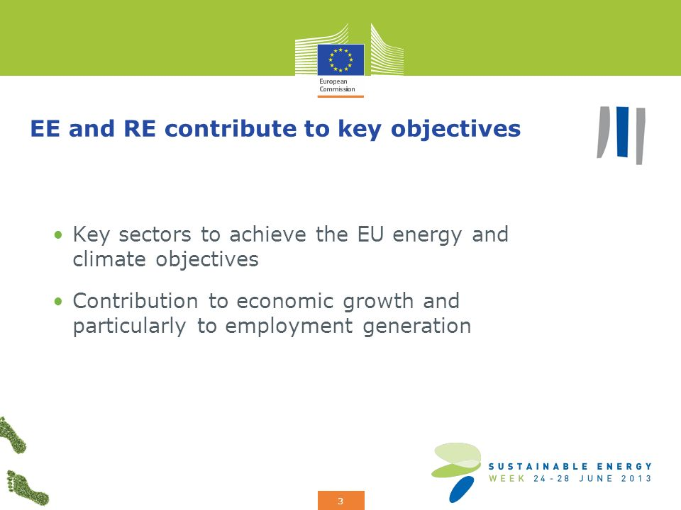 Add your logo here 3 EE and RE contribute to key objectives Key sectors to achieve the EU energy and climate objectives Contribution to economic growth and particularly to employment generation