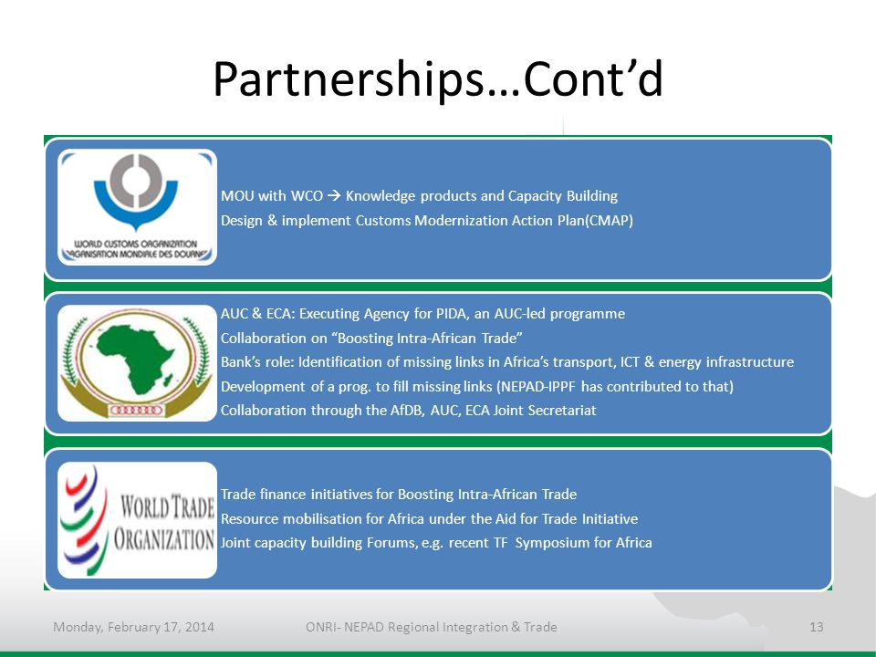 Partnerships…Contd MOU with WCO Knowledge products and Capacity Building Design & implement Customs Modernization Action Plan(CMAP) AUC & ECA: Executi